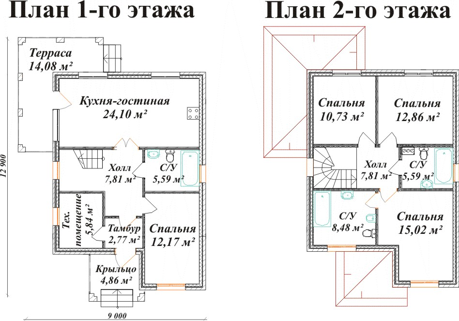 проект двухэтажный 7 12 чертеж