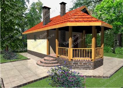 Проекты деревянных двухэтажных домов бань 6х8 м из